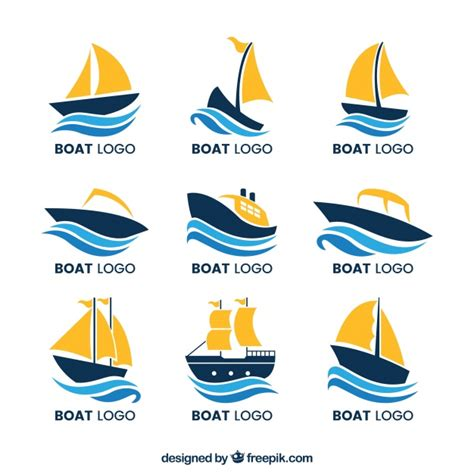 boat clipart logo collection of boat logos with waves vector free download