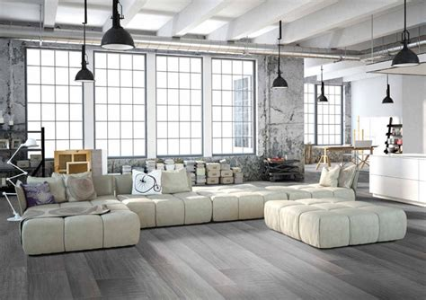 loft style living room modern grey loft style living room with porcelain wood floors modern living room miami
