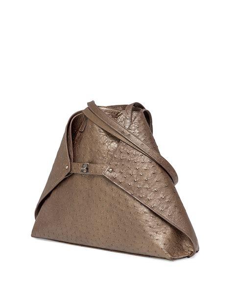 Bag Hm Luxury Ostrich 84123 akris ai small metallic ostrich shoulder tote bag in metallic lyst