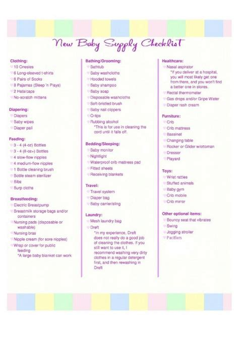 list of items to buy for a new house baby needs checklist printable pictures to pin on