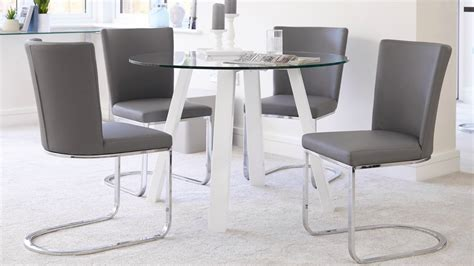 4 Seater Glass Dining Table 4 Seater Glass And White Gloss Dining Table Uk