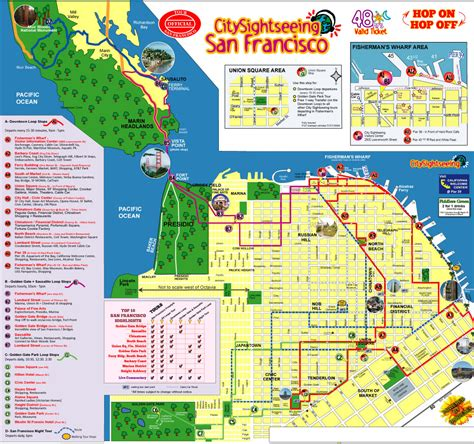 san francisco map attractions city maps stadskartor och turistkartor thailand usa