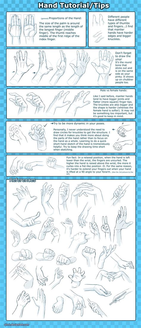 how to draw hands 35 tutorials how tos step by steps hand tutorial tips reference by qinni on deviantart
