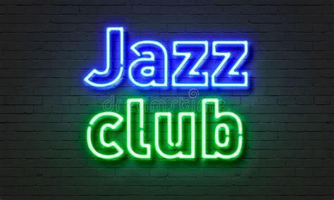 jazz club neon sign  brick wall background stock image