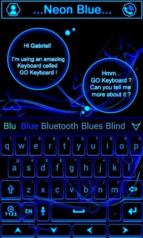 go keyboard themes neon blue neon blue go keyboard theme free android keyboard download