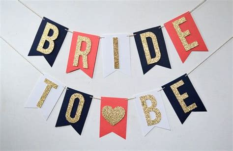 Balloonable Banner Flag Bridal Shower To Be this to be banner is made with navy blue white and coral background flags each flag is