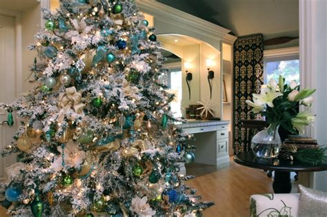 white flocked tree with shades of blue transitional living room san diego by