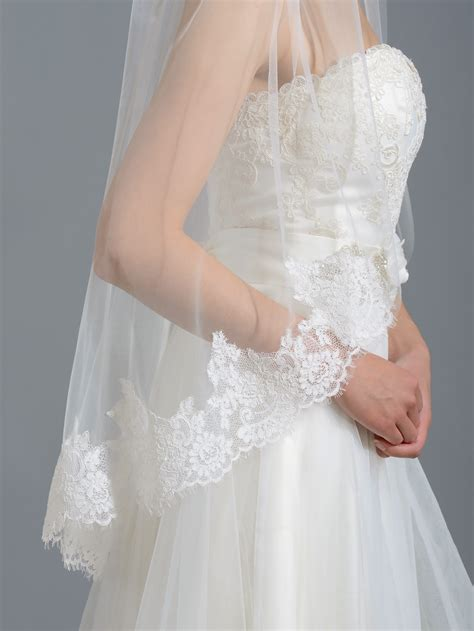 Lace Wedding Veil ivory alencon lace wedding veil v038