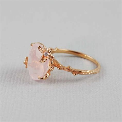 Handmade Gold Rings - handmade pink gold oval quartz ring