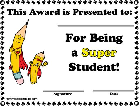 free student certificate templates awards for students on student awards