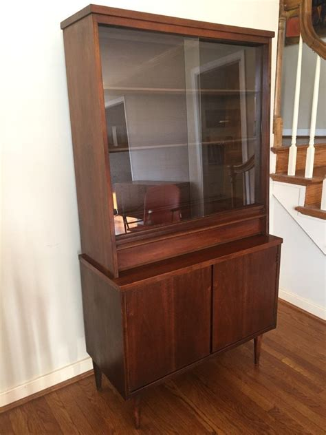 Mid Century Cupboard by Mid Century Modern Walnut China Cabinet By Bassett