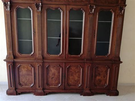 walnut bookcase with glass doors neoclassical style walnut bookcase with glass doors 20th