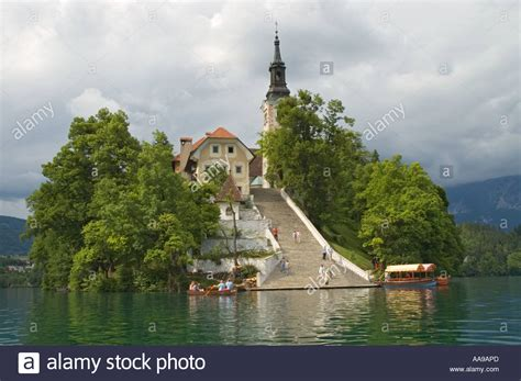 row boat to bled island slovenia lake bled bled island church of the assumption