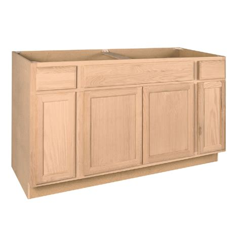 unfinished base kitchen cabinets shop project source 60 in w x 34 5 in h x 24 in d unfinished brown tan oak sink base cabinet at