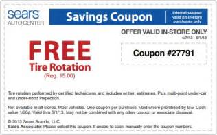 Sears Auto Tire Coupon Code Sears Free Tire Rotation Coupon May 2013