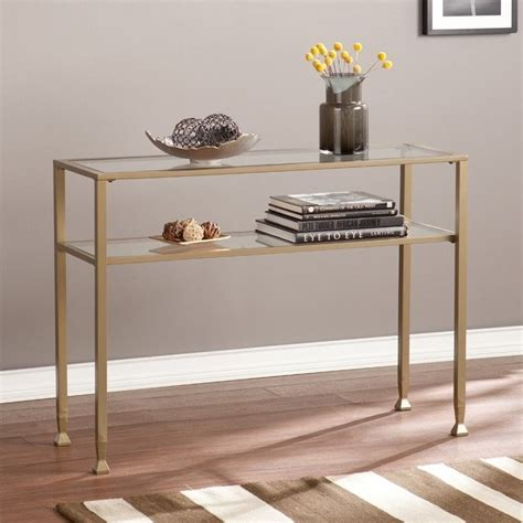 gold console table southern enterprises metal glass console table in matte