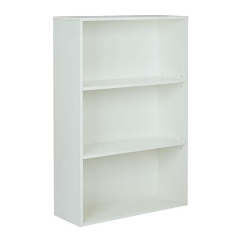 Shop Office Star Prado White 3 Shelf Bookcase At Lowes Com 3 Shelf White Bookcase