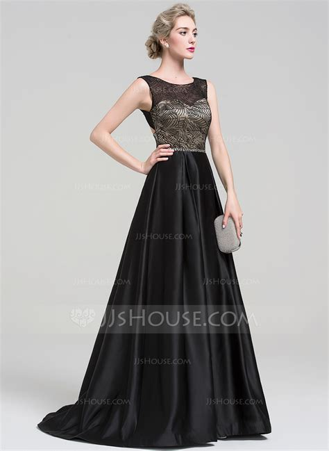 Ball Gown Scoop Neck Sweep Train Satin Evening Dress With