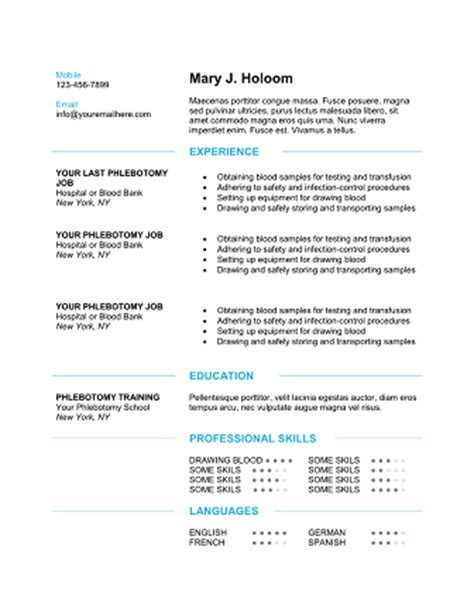 phlebotomy resume templates qualifications resume 50 phlebotomist resume sle