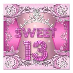 sweet 13 13th birthday pink silver tiara 5 25x5 25 square paper invitation card zazzle