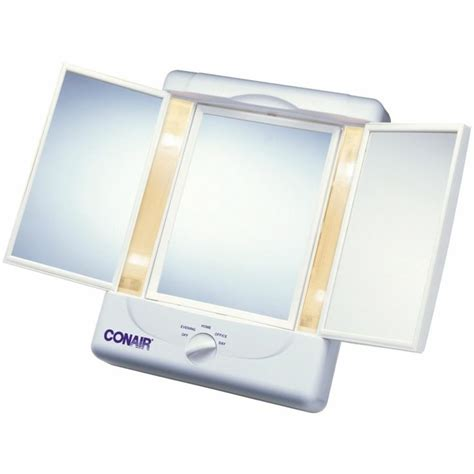 Makeup Mirror With Different Light Settings Conair Sided Lighted Make Up Mirror 3 Panels 4