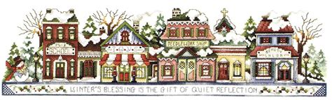 Santa Claus House winter in the village cross stitch pattern by stoney creek