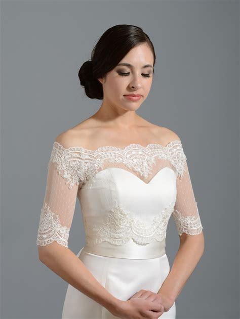 Wedding Jackets by Shoulder Dot Lace Bolero Wedding Jacket