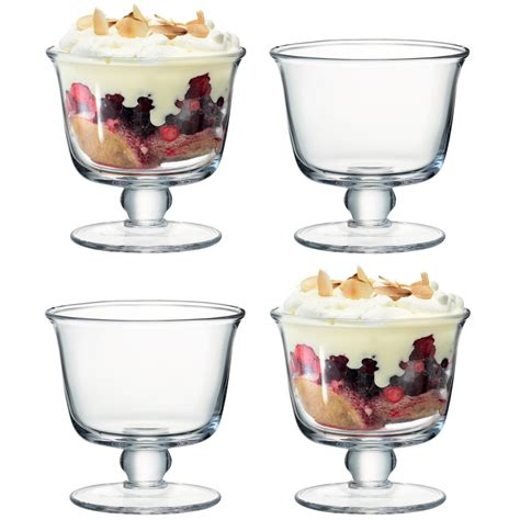 lsa mouthblown glass trifle comport or dessert bowls dish