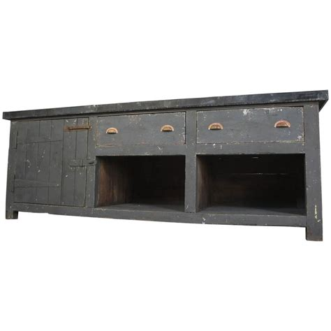 Kitchen Sideboard Table Vintage Industrial Zinc Top Kitchen Table Sideboard For Sale At 1stdibs
