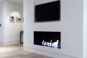 modern fireplace with custom metal firebox and 36