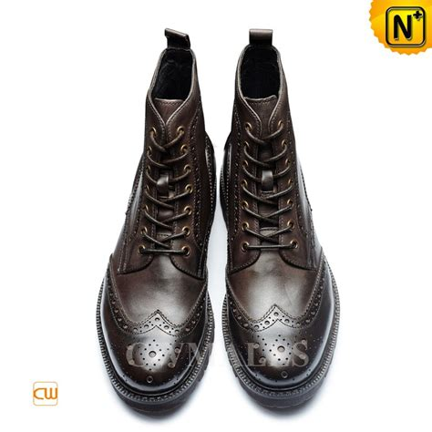 Leather Wingtip Boots cwmalls 174 leather wingtip brogue dress boots cw726510