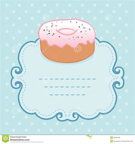 Tea Party Invitation Vintage Style Frame With Donut Stock Illustration Image 30804092 Donut Invitation Template Free