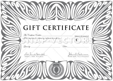 vector clipart silver gift certificate template snap vectors