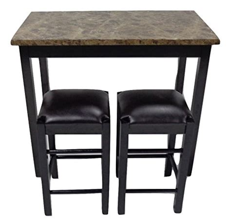 3pc tavern counter height table stools faux marble top