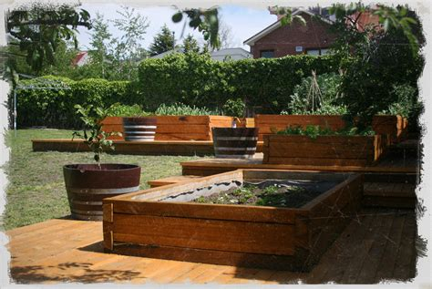 Garden in NanoPics: dovetail timbers raised timber garden bed