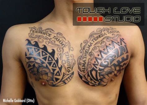polynesian chest tattoo nichelle gabbard tattoos tough studio