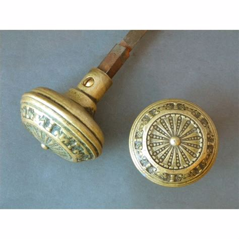 antique single pair of solid brass entry door knobs