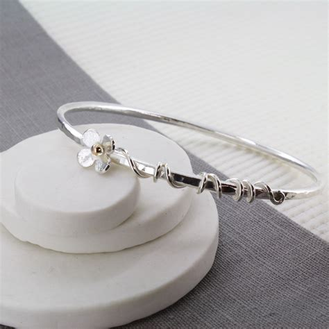 Handmade Silver Jewellery Cornwall - handmade silver bangle with flower and tendrils carole