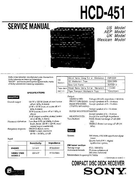 SONY HCD-451-SM Service Manual download, schematics