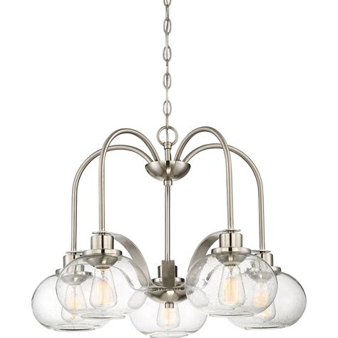 Dinette Lighting Fixtures Quoizel Trg5105bn Trilogy Contemporary Brushed Nickel Fluorescent Lighting Chandelier Quo