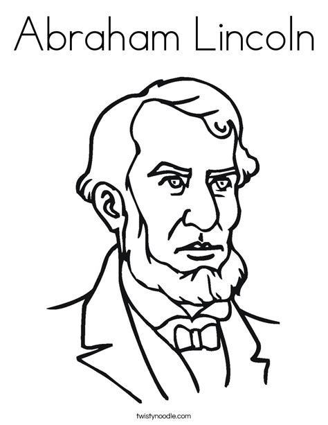 abraham lincoln coloring page twisty noodle