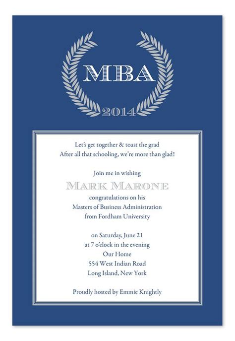 Mba After Business Degree by Graduation Invitation Wording Home Graduation Graduation