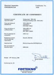 tepamec products 501 series certificate of conformity
