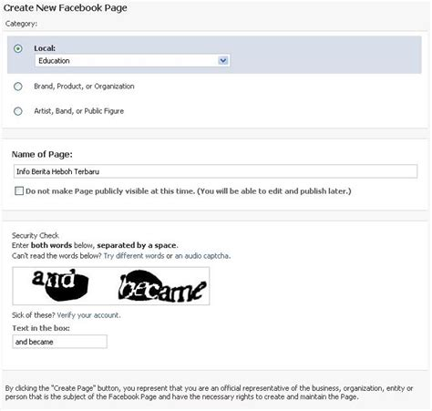 membuat link website di facebook cara membuat fan pages di facebook