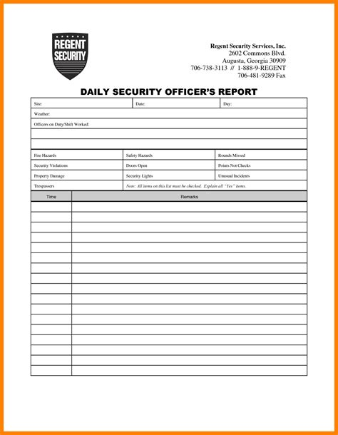 28 incident report sle security guard incident