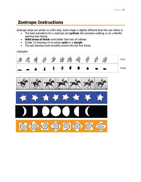 printable zoetrope strips zoetrope instructions