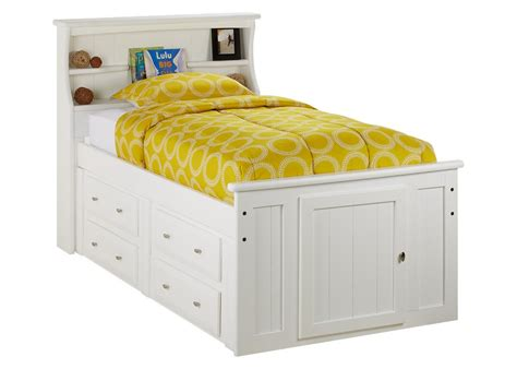 CATALINA TWIN WHT BKCS STORAGE BED WHITE   Twin Beds