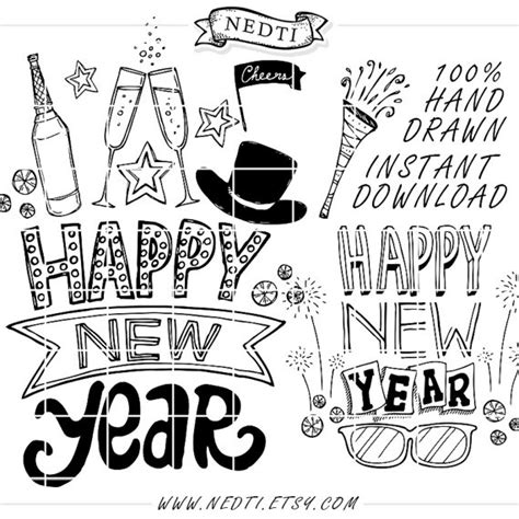 doodle happy new year items similar to 30 happy new year lineart clip