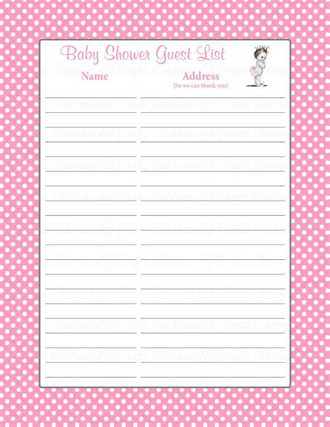 Baby Shower For Guest by Printable Baby Shower Guest List Portablegasgrillweber