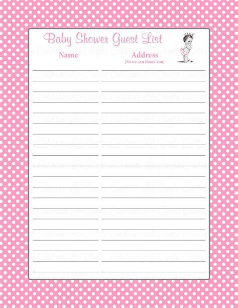 Baby Shower Guest List by Printable Baby Shower Guest List Portablegasgrillweber